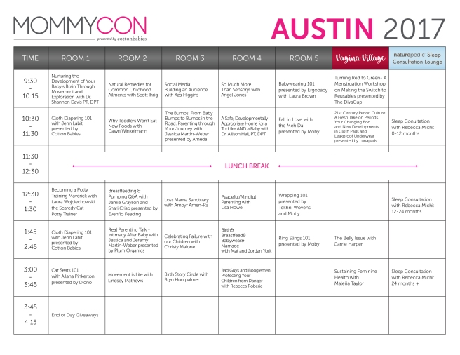 MommyCon Austin 2017 Schedule | sharonisamom.wordpress.com